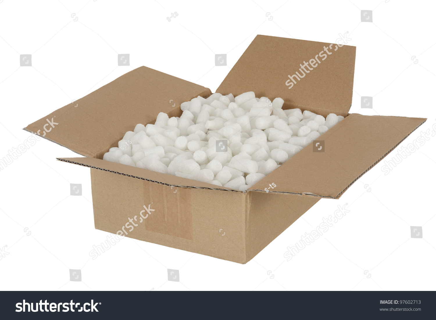 Opened Cardboard Box Parcel With Loose Fill Stock Photo ...