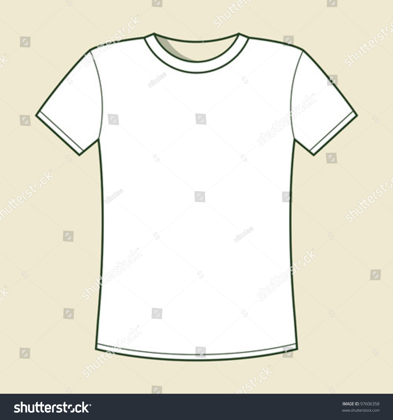 White Tshirt Template Stock Vector Royalty Free 97606358
