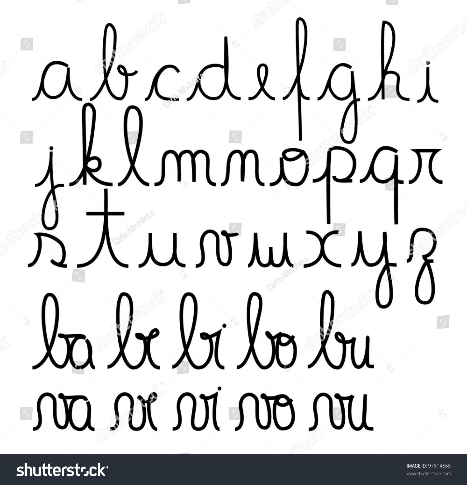 worksheet Alphabet Cursive cursive alphabet vector stock 97614665 shutterstock vector