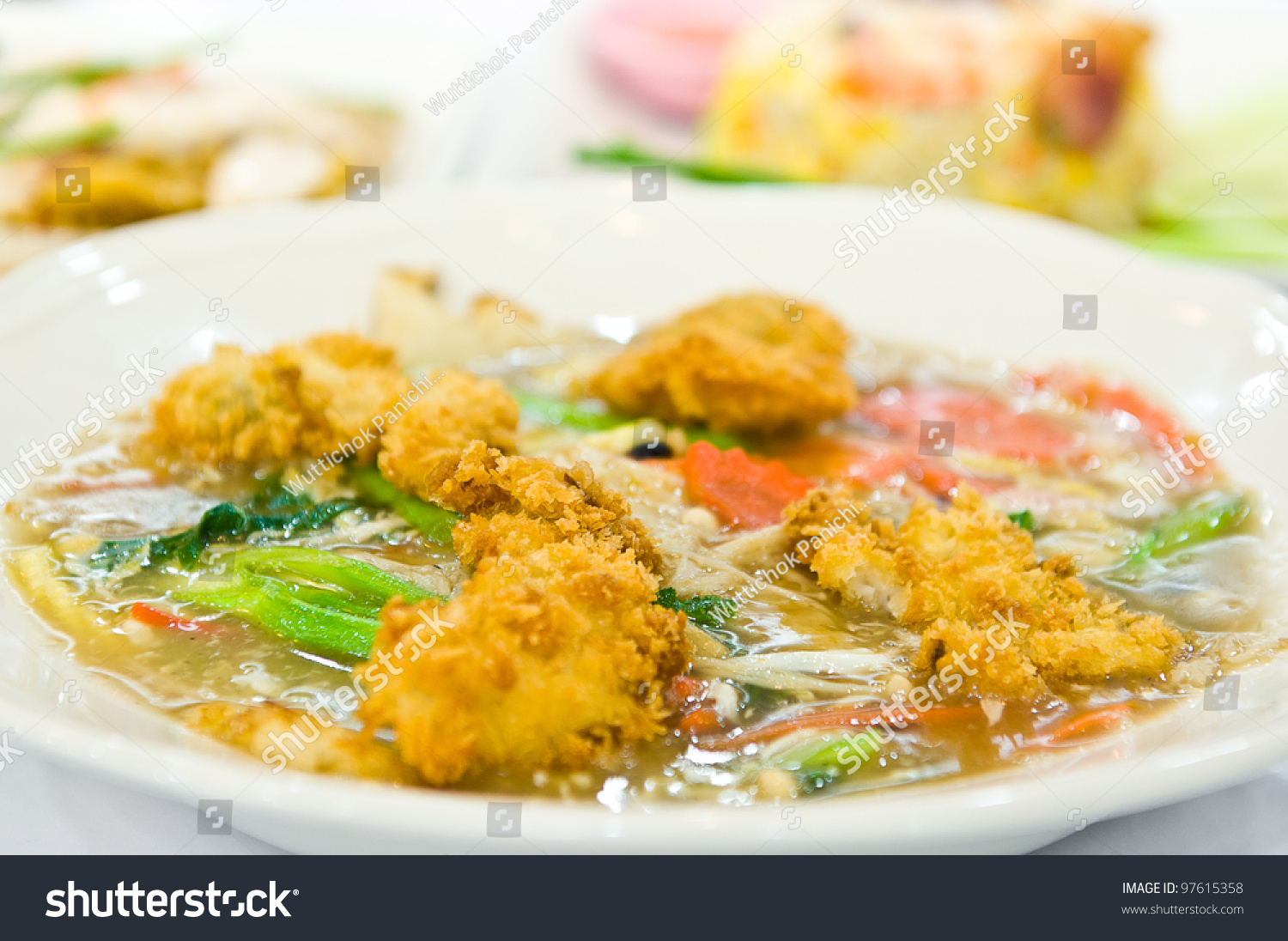 Ratna Soup Golden Mushroom Fried Chicken Stock Photo Edit Now