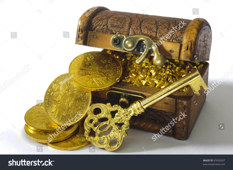 Treasure Chest Gold Coins Key Stock Photo 97630307