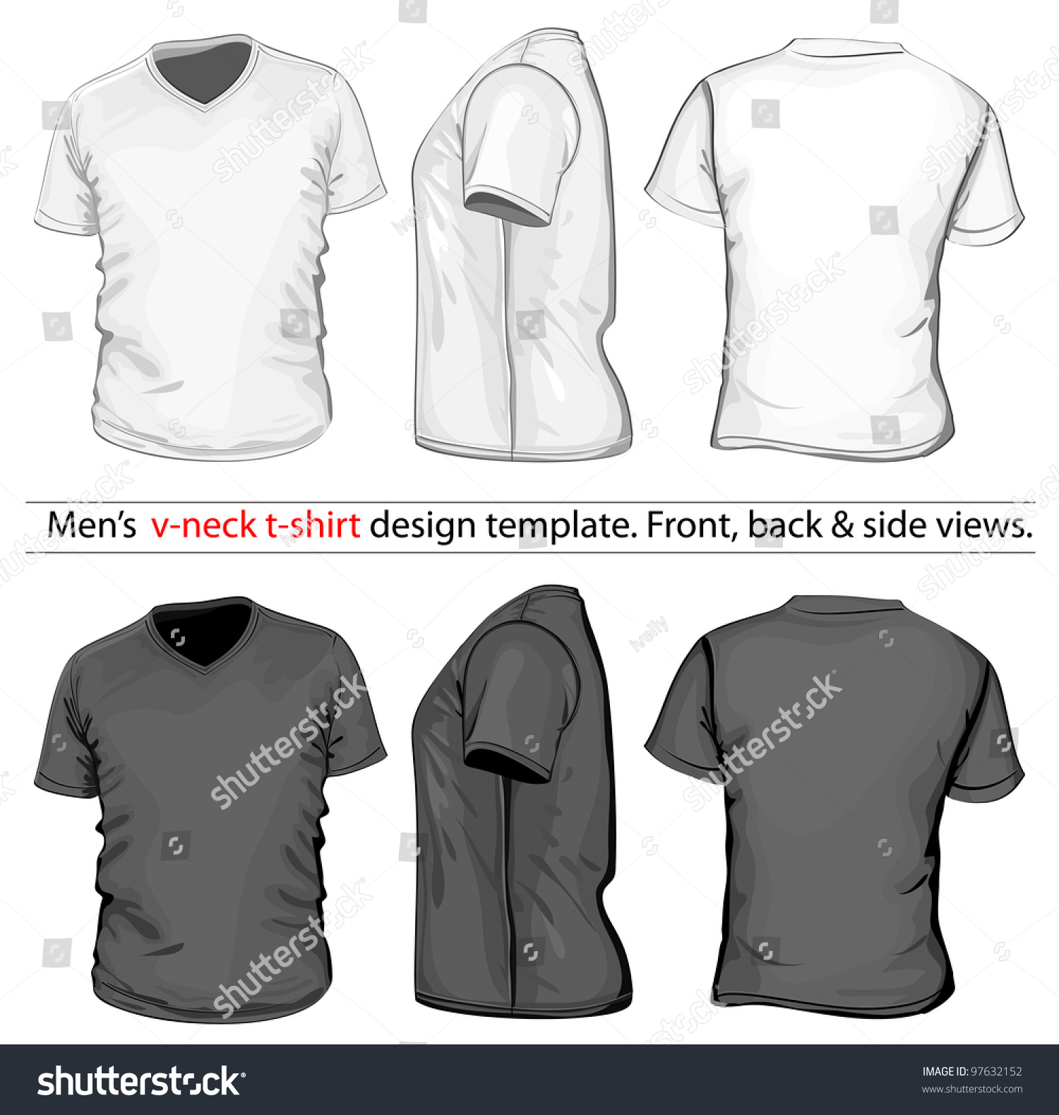 Black t shirt vector front and back - Vector Men S V Neck T Shirt Design Template Front Back And