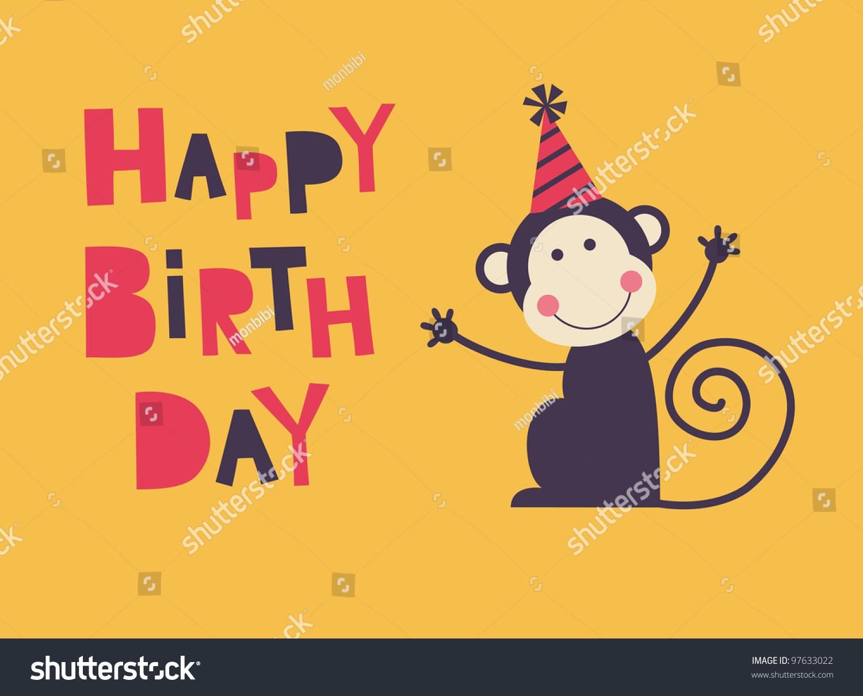 Cute Happy Birthday Card Fun Monkey Vector 97633022 – Birthday Card Monkey
