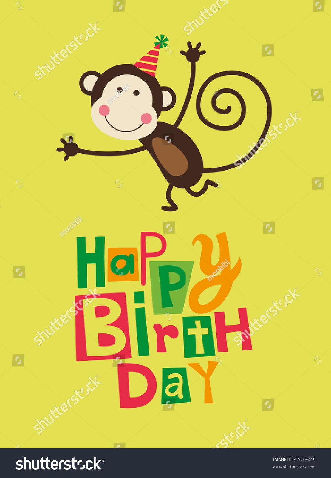 Cute Happy Birthday Card Fun Monkey Stock Vector 97633046