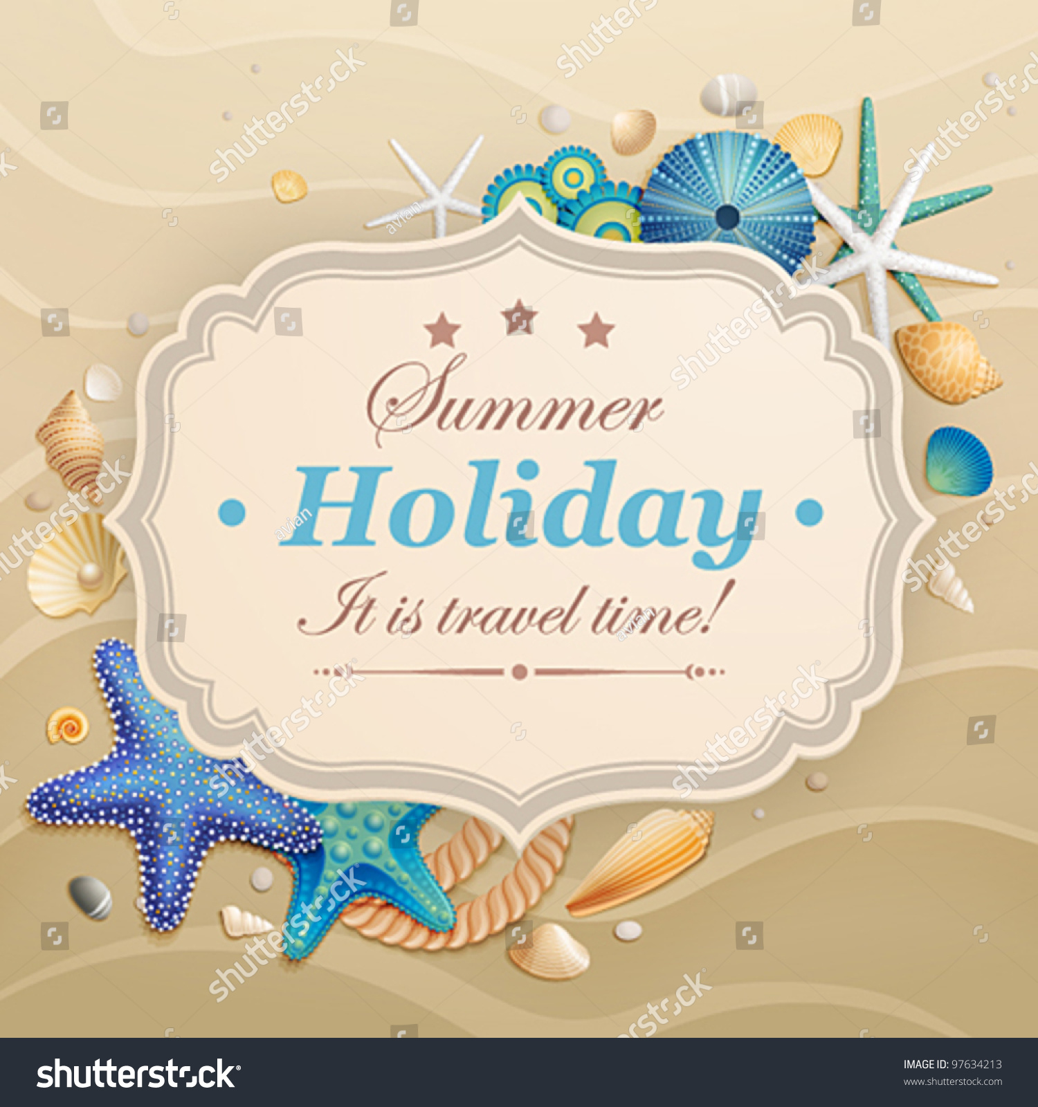 Summer travel card in retro style vintage vacation postcard with - Vintage Holiday Greeting Card Shells Starfishes Stock