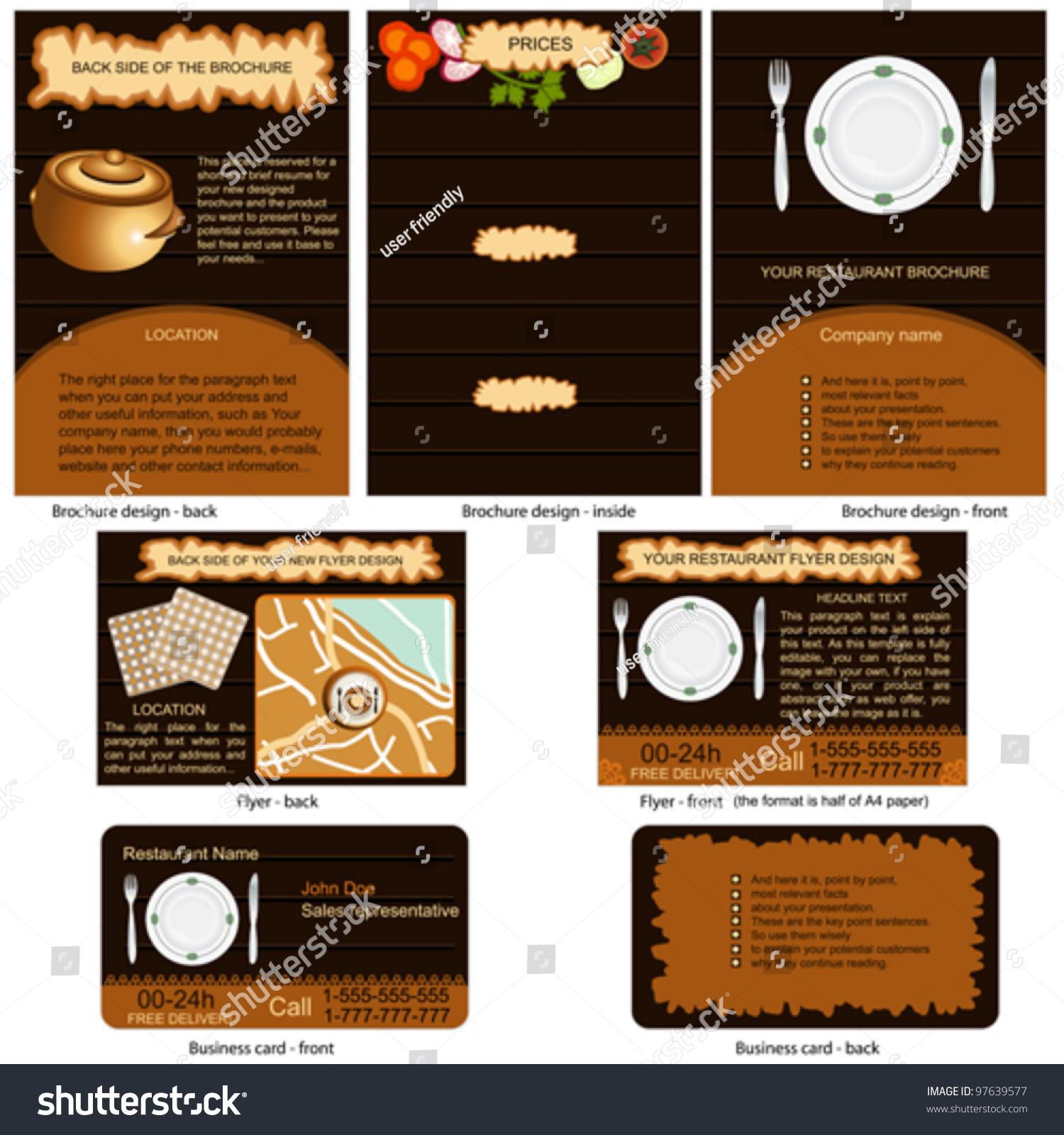 Restaurant stationary brochure design flyer stock