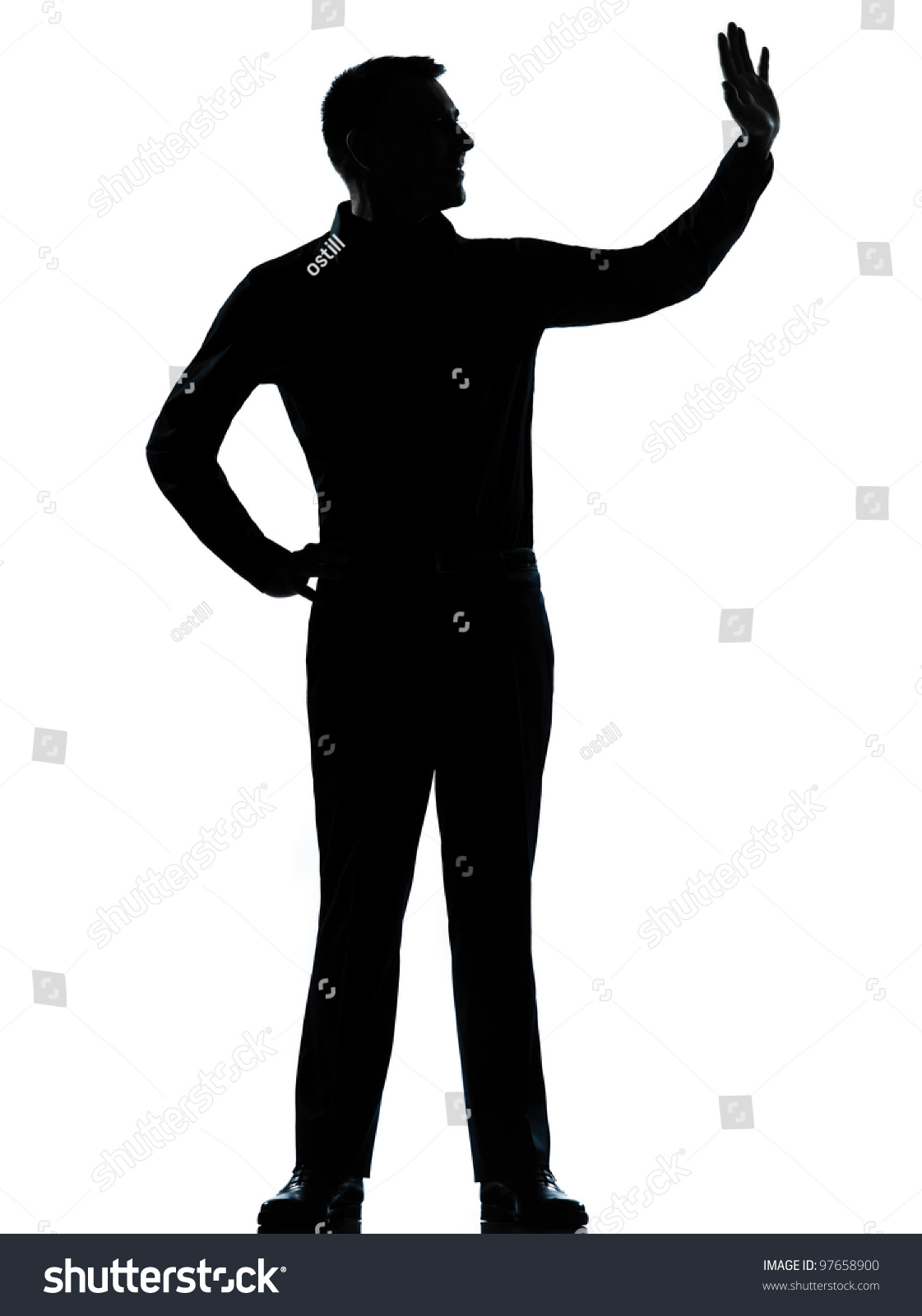 One Caucasian Business Man Saluting Silhouette Standing ...
