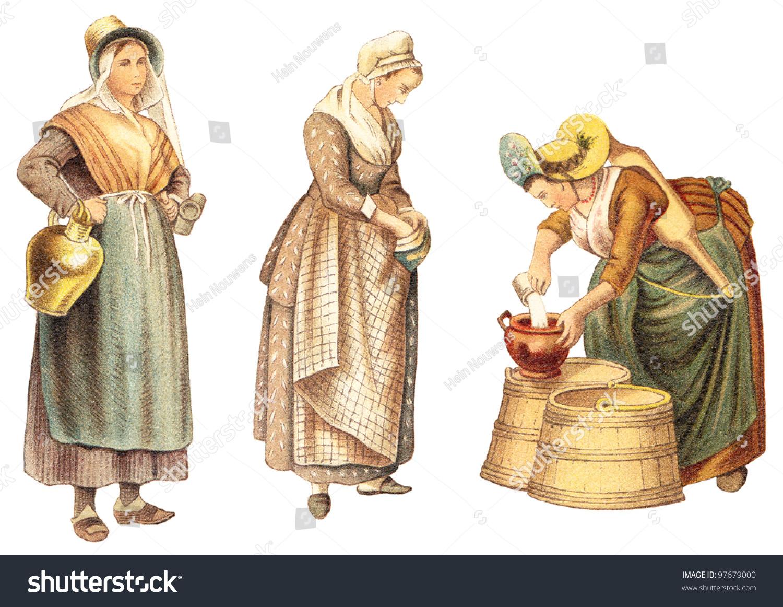 Historical Milk Maid Fashion - From Antwerp - Belgium