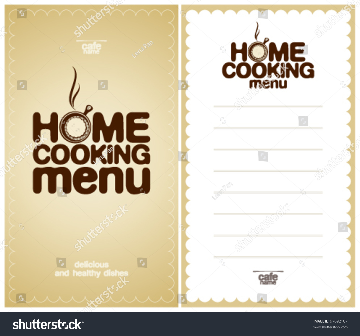 home cooking menu design template form stock vector royalty free