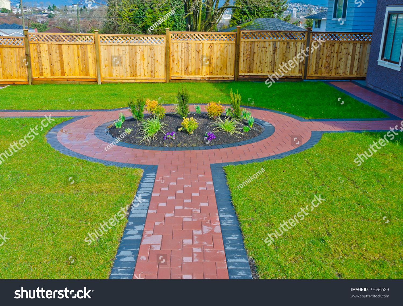Landscape design  Flower Bed in a Formal Garden. Landscape Design Flower Bed Formal Garden Stock Photo 97696589