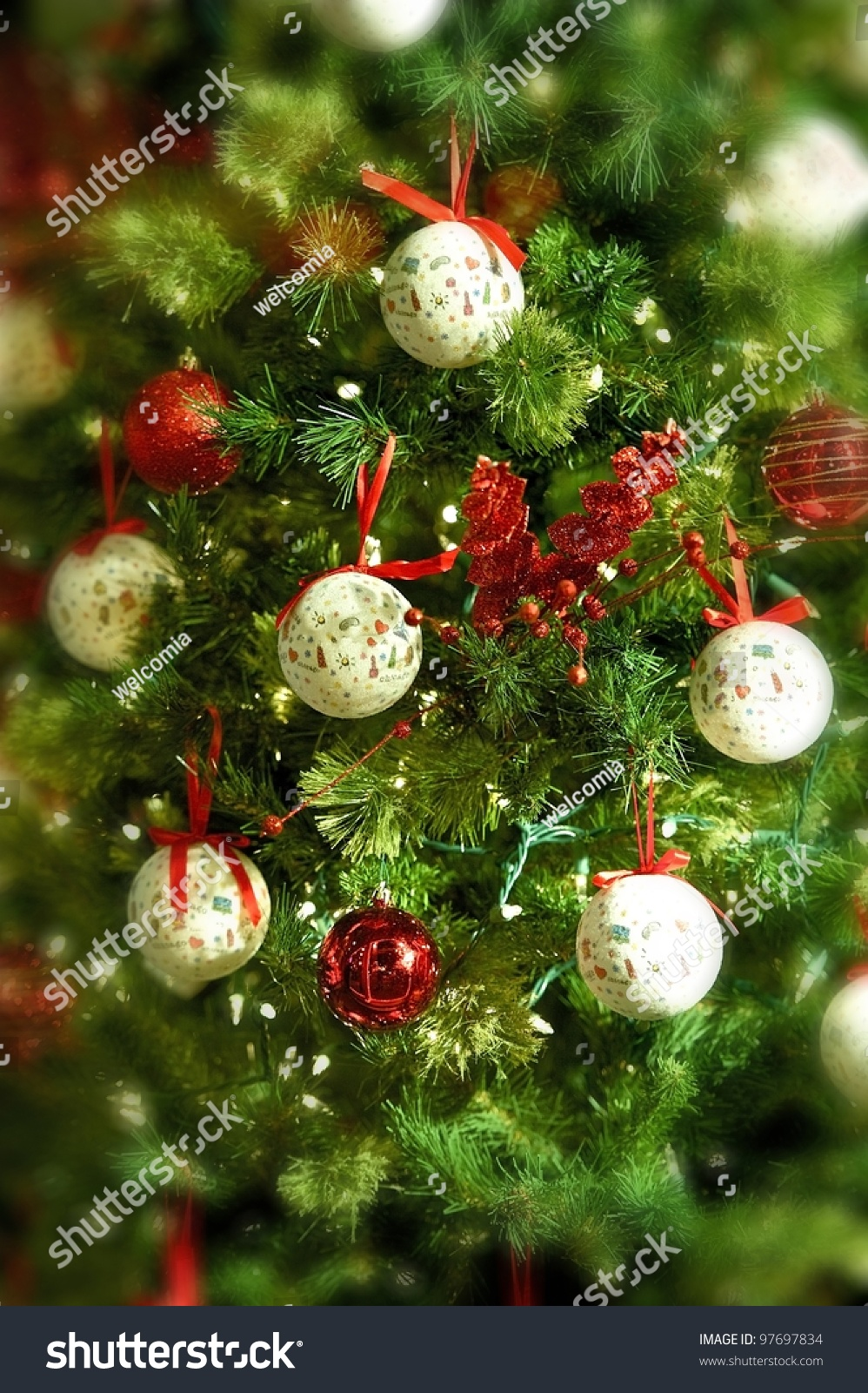 Christmas background tree ornaments vertical