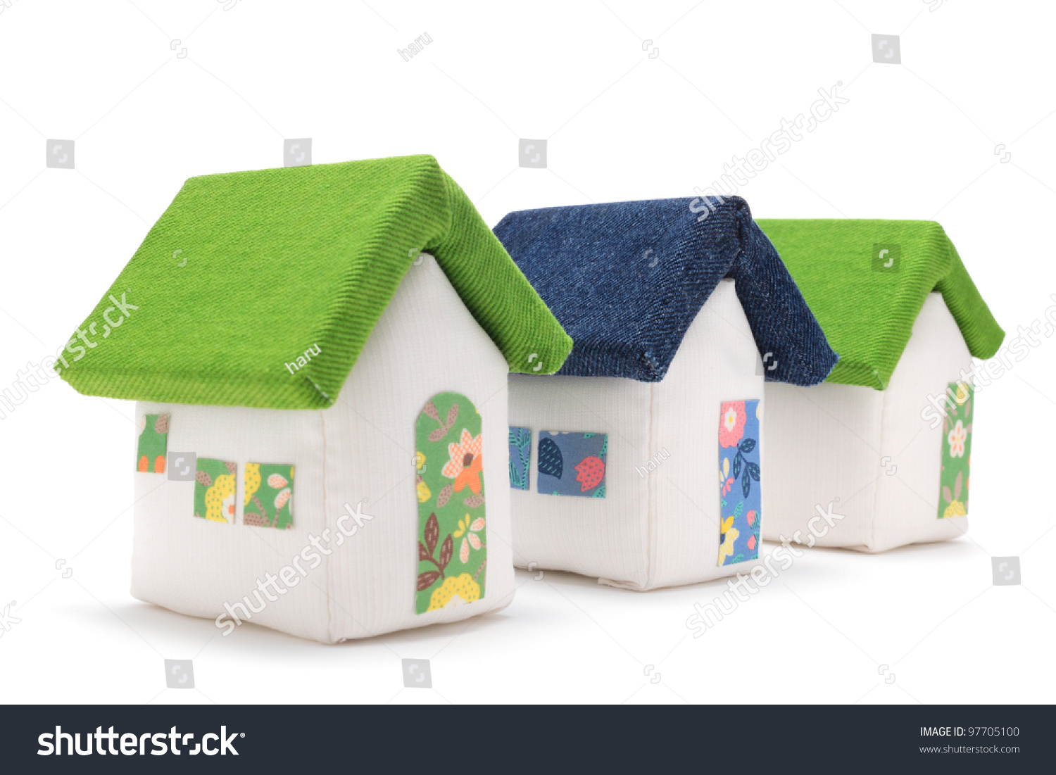 Fabric Houses On White Background Stock Photo Edit Now 97705100