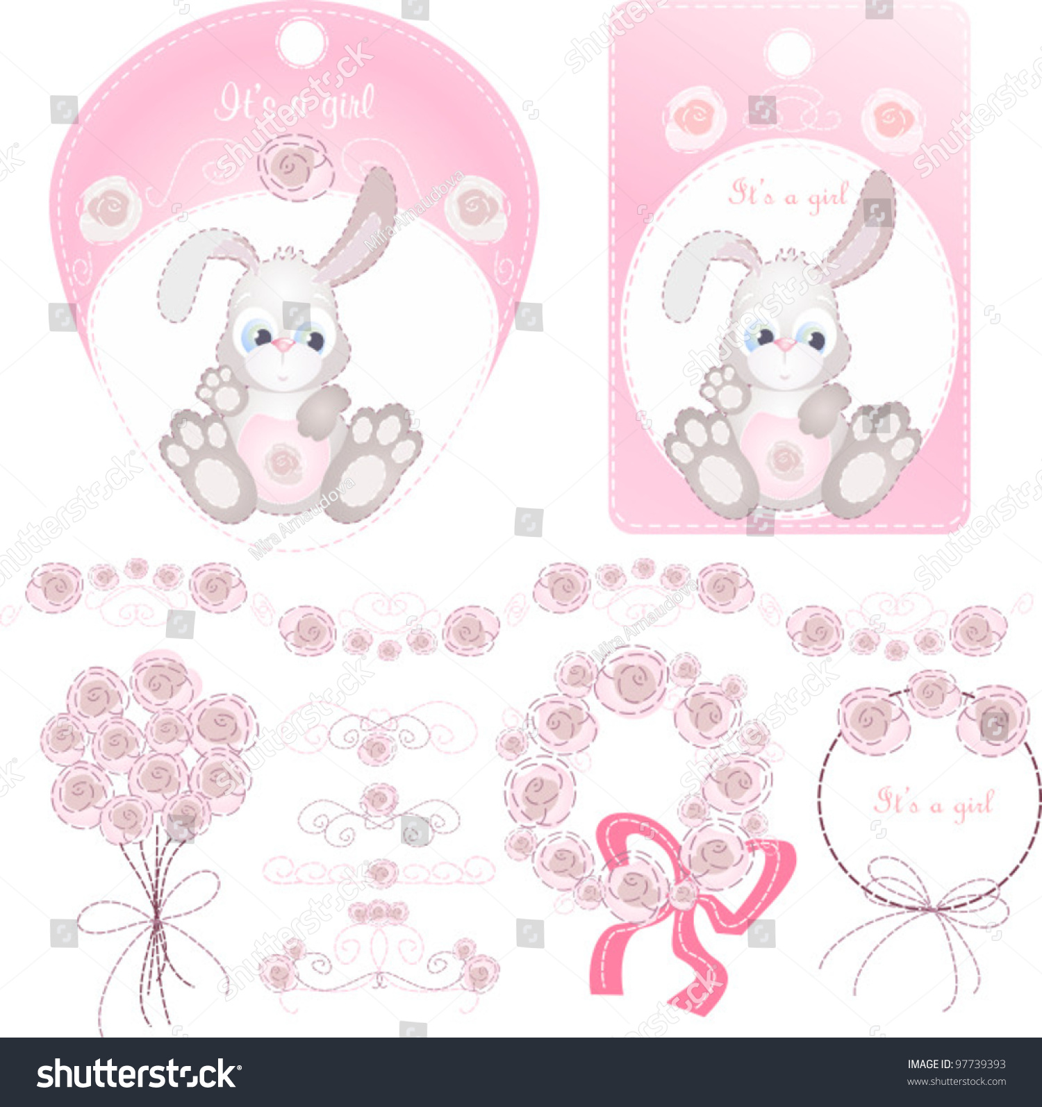 New baby ornaments - Vector Labels And Design Ornaments For New Born Baby Girl