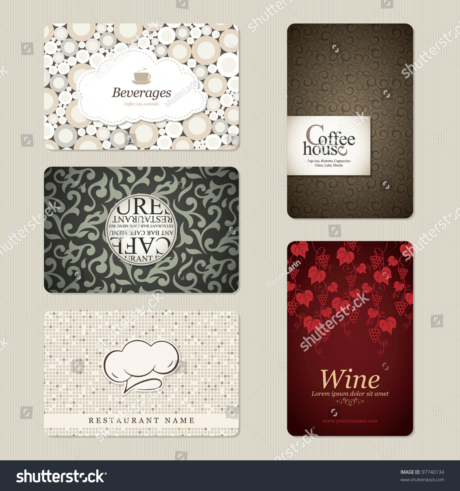 set 5 detailed business cards cafe stock vector