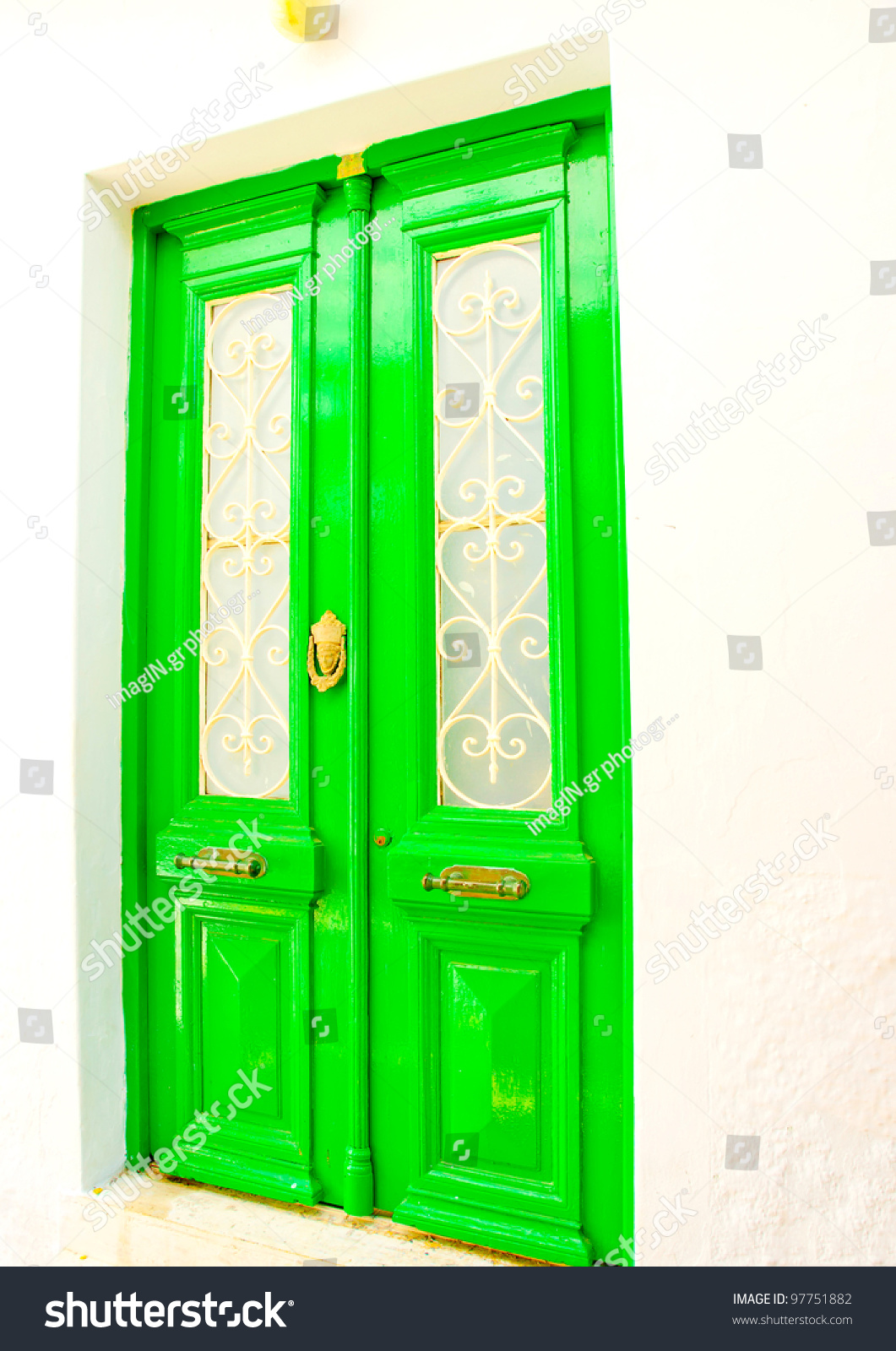 Old beautiful traditional house in chora the capital of amorgos island - A Beautiful Green Colored Door Of A Traditional Old House In Chora The Capital Of Amorgos