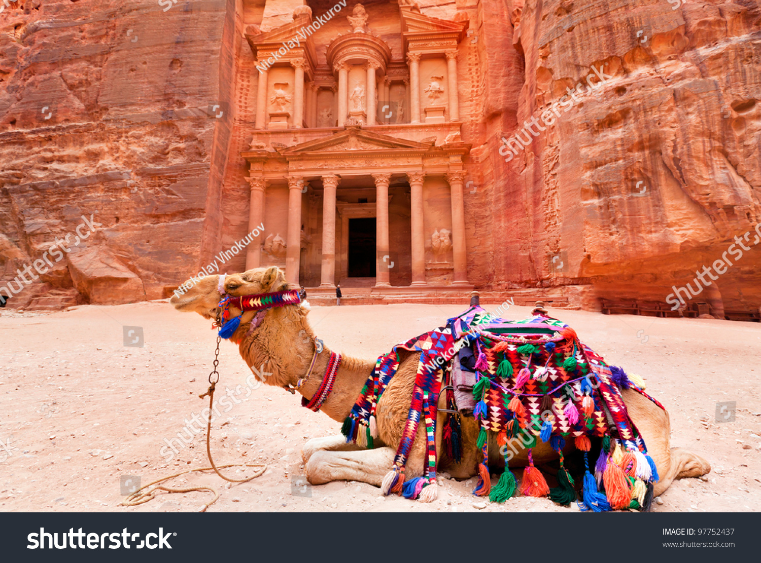 Bedouin Camel Rests Near The Treasury Al Khazneh Carved Into The Rock At Petra Jordan Stock