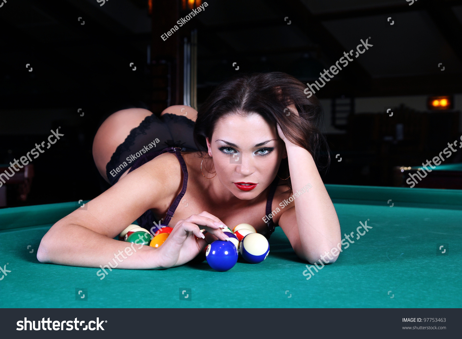 Portrait Sexy Girls Lying On Table Stock Photo 97753463