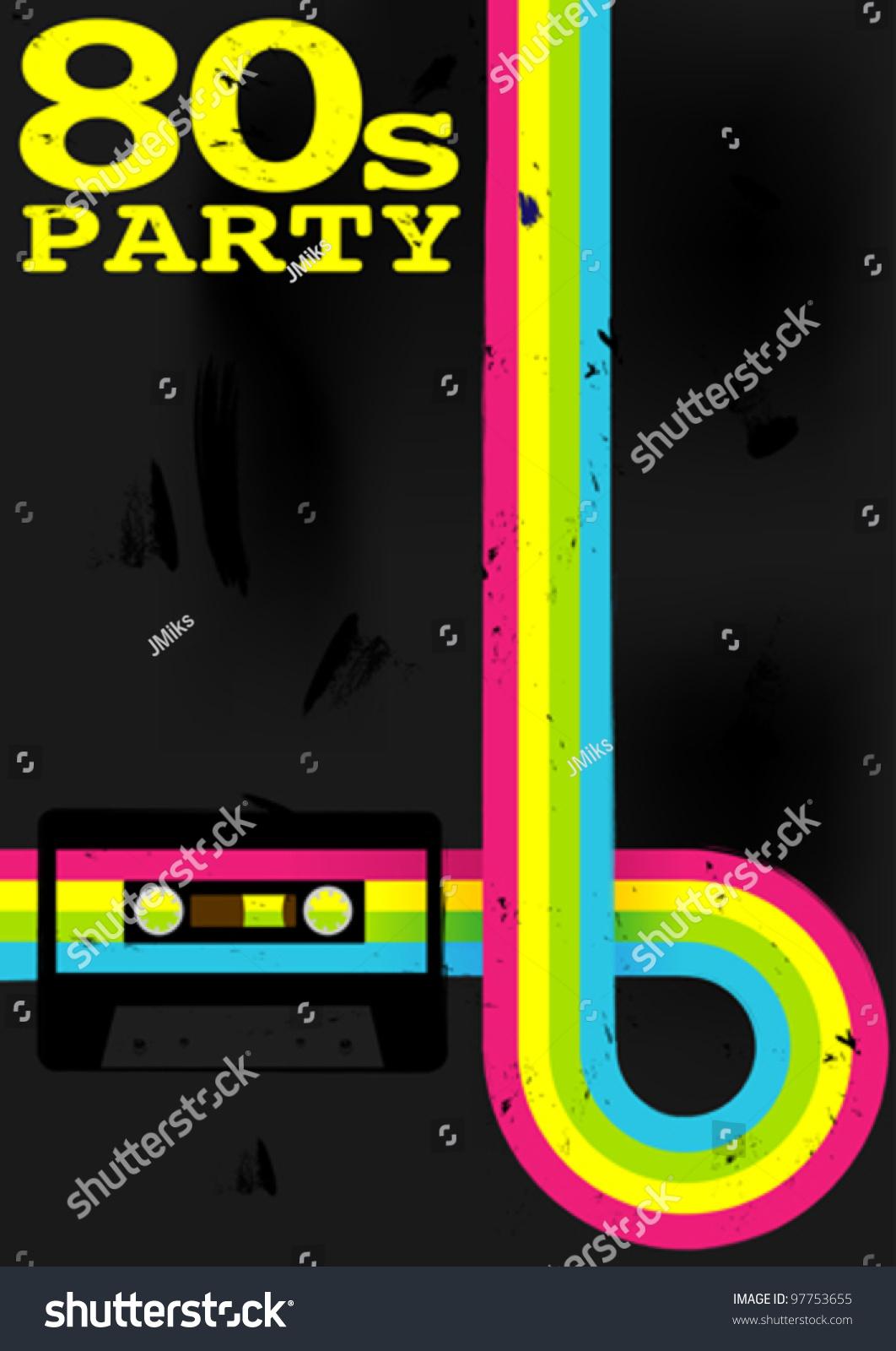 retro poster 80s party flyer audio stock vector 97753655