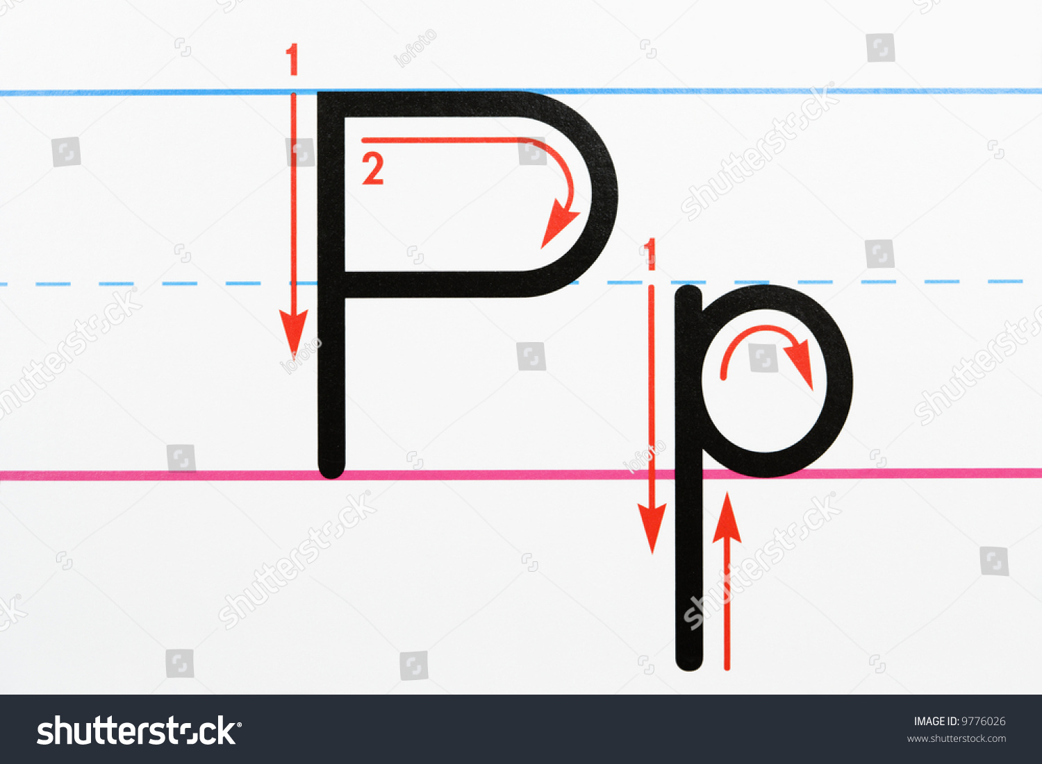 Close Letter P Handwriting Practice Page Stock Photo Download Now