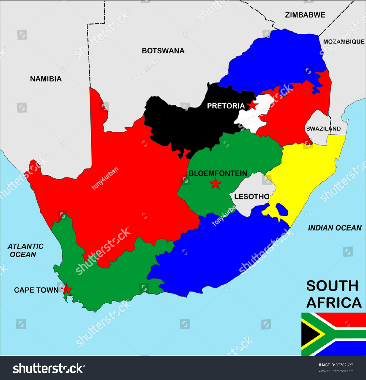 Big size political map south africa ilustracin de stock97762637 big size political map of south africa with flag gumiabroncs Gallery