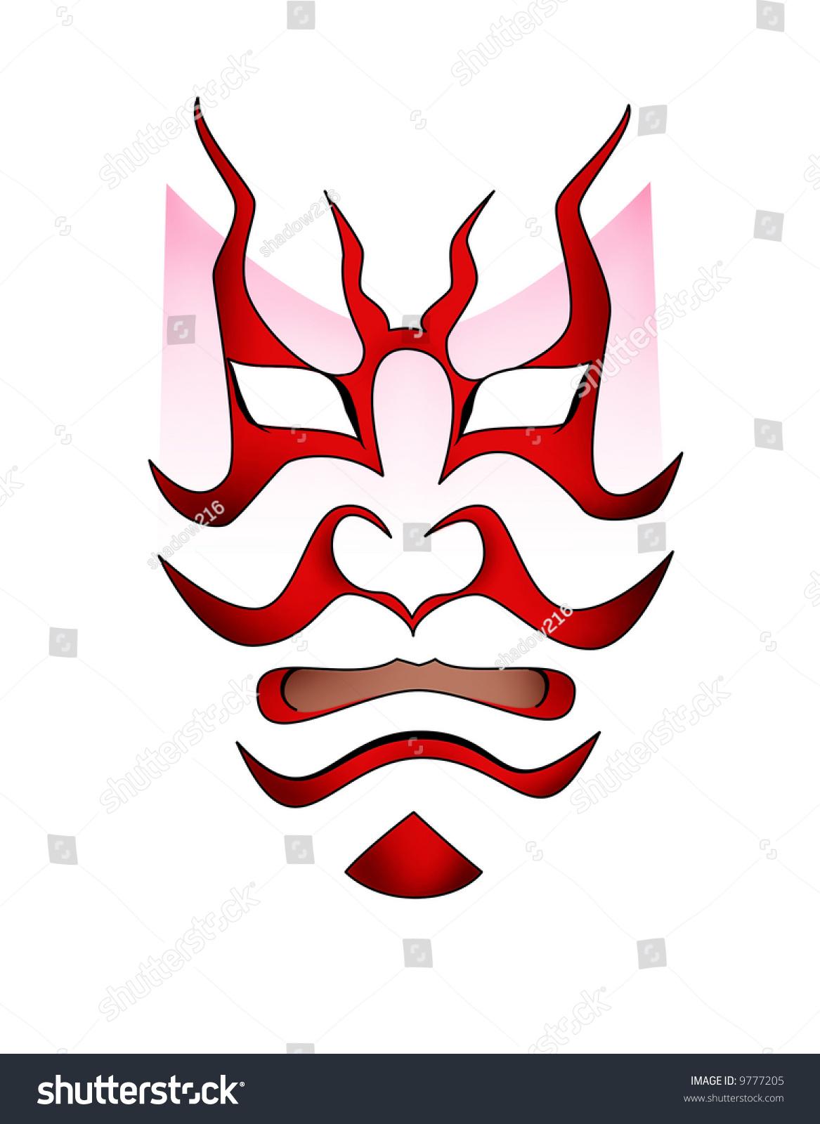 illustration kabuki mask design stock illustration 9777205 shutterstock. Black Bedroom Furniture Sets. Home Design Ideas