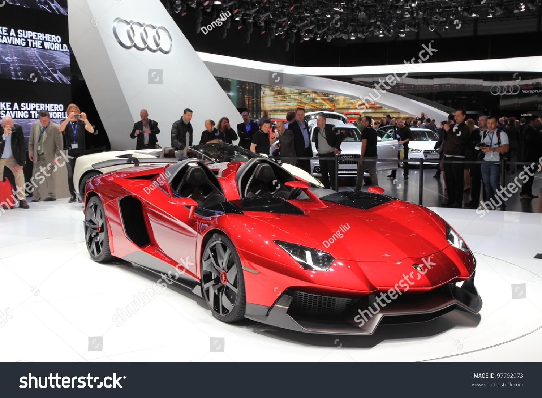 Geneva March 8 Lamborghini Aventador J Stock Photo Edit Now