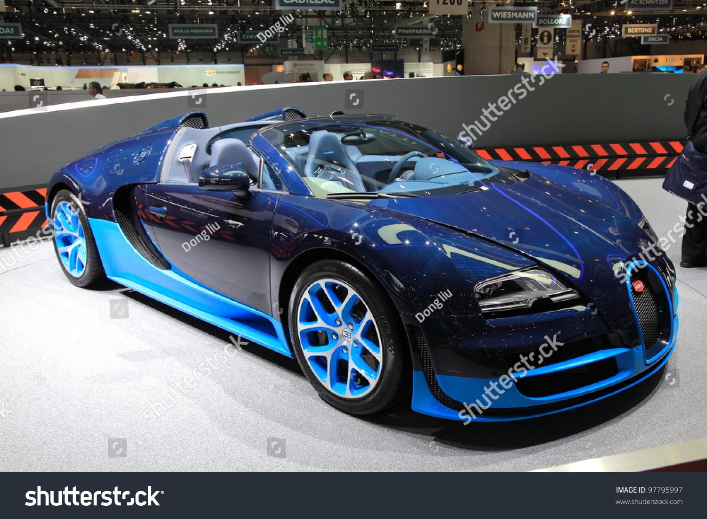 geneva march 8 a bugatti veyron grand sport vitesse car on display at 82th. Black Bedroom Furniture Sets. Home Design Ideas