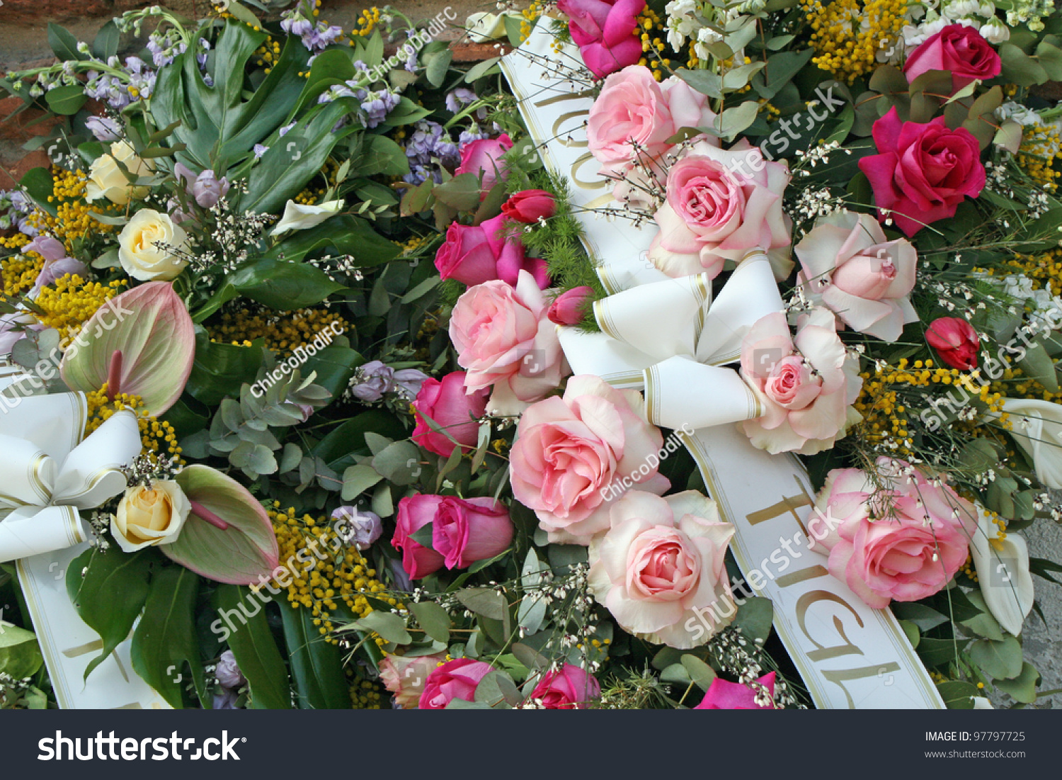 Bouquets Flowers Roses Mimosas Memory Departed Stock Photo (Royalty ...