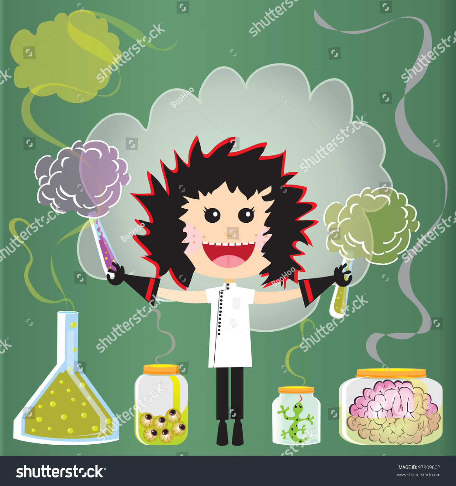 Mad Scientist Birthday Party Invitations Puffs Stock Vector ...