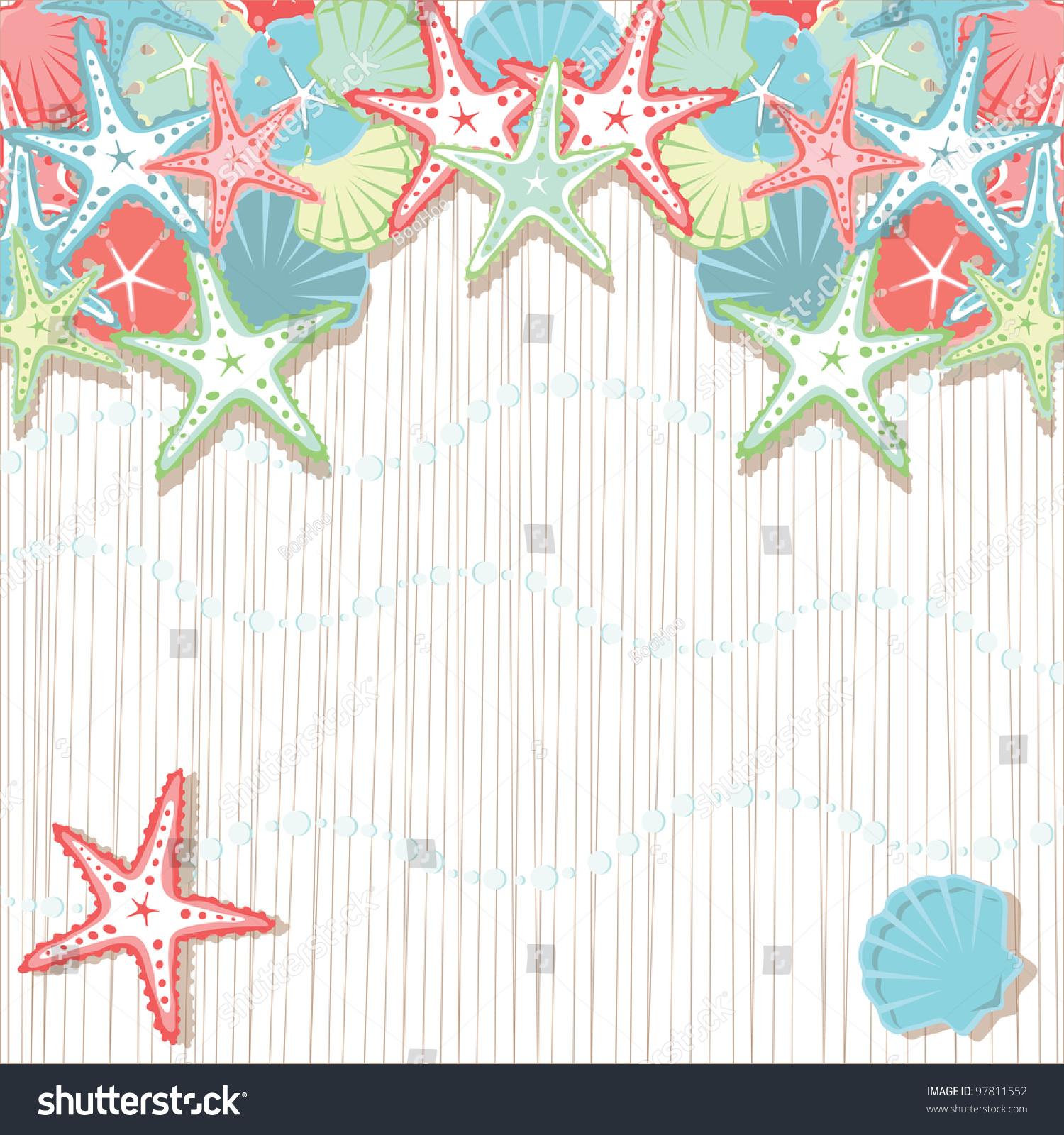 Beach Theme Card Stock: Seashell Beach Party Invitations Soft Colored Stock Vector