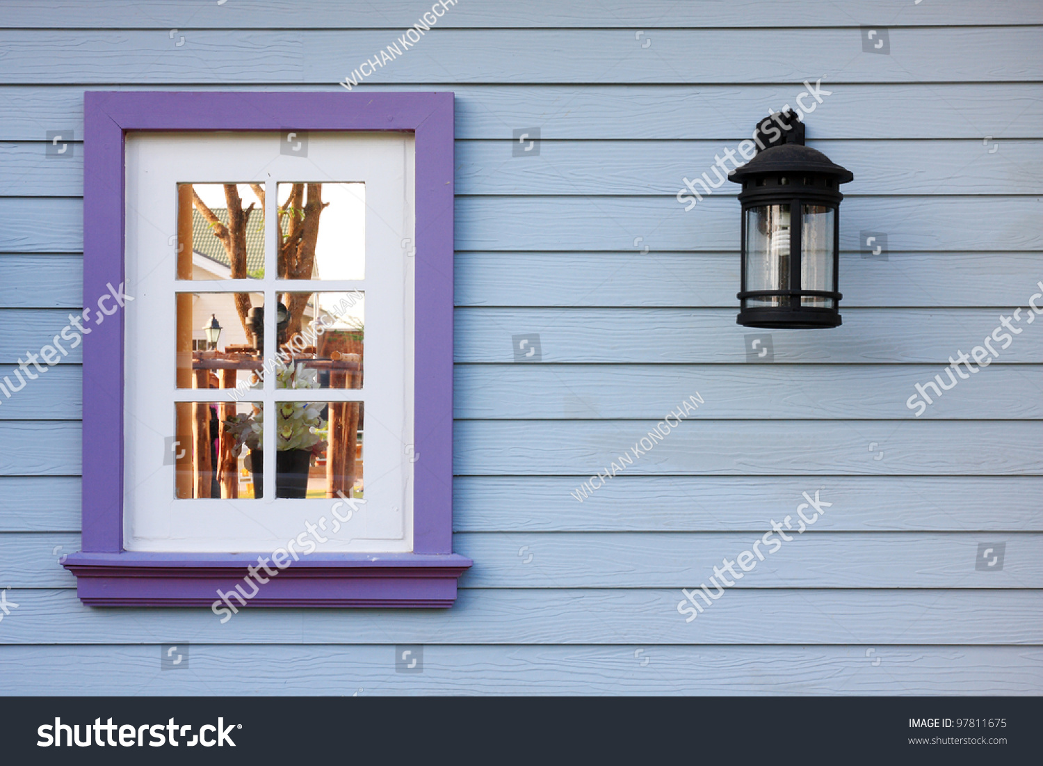 Window And Wood Wall European Style Houses Stock Photo