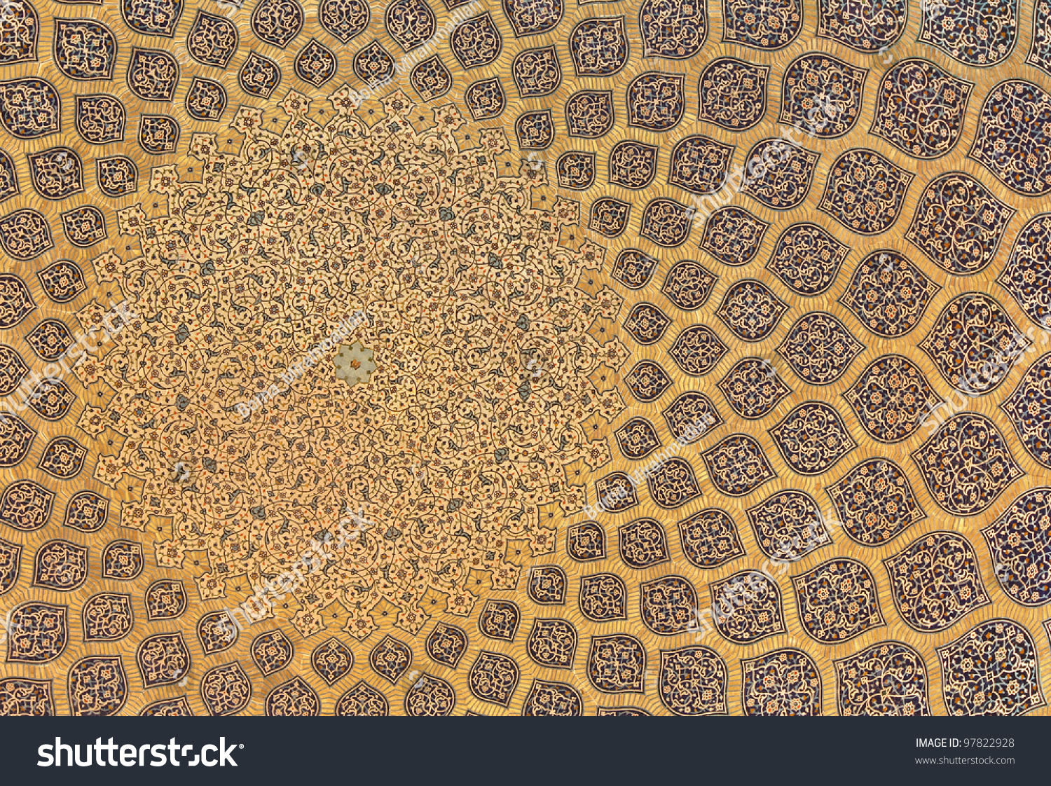 Background arabesque design inside dome mosque stock photo for Arabesque style decoration