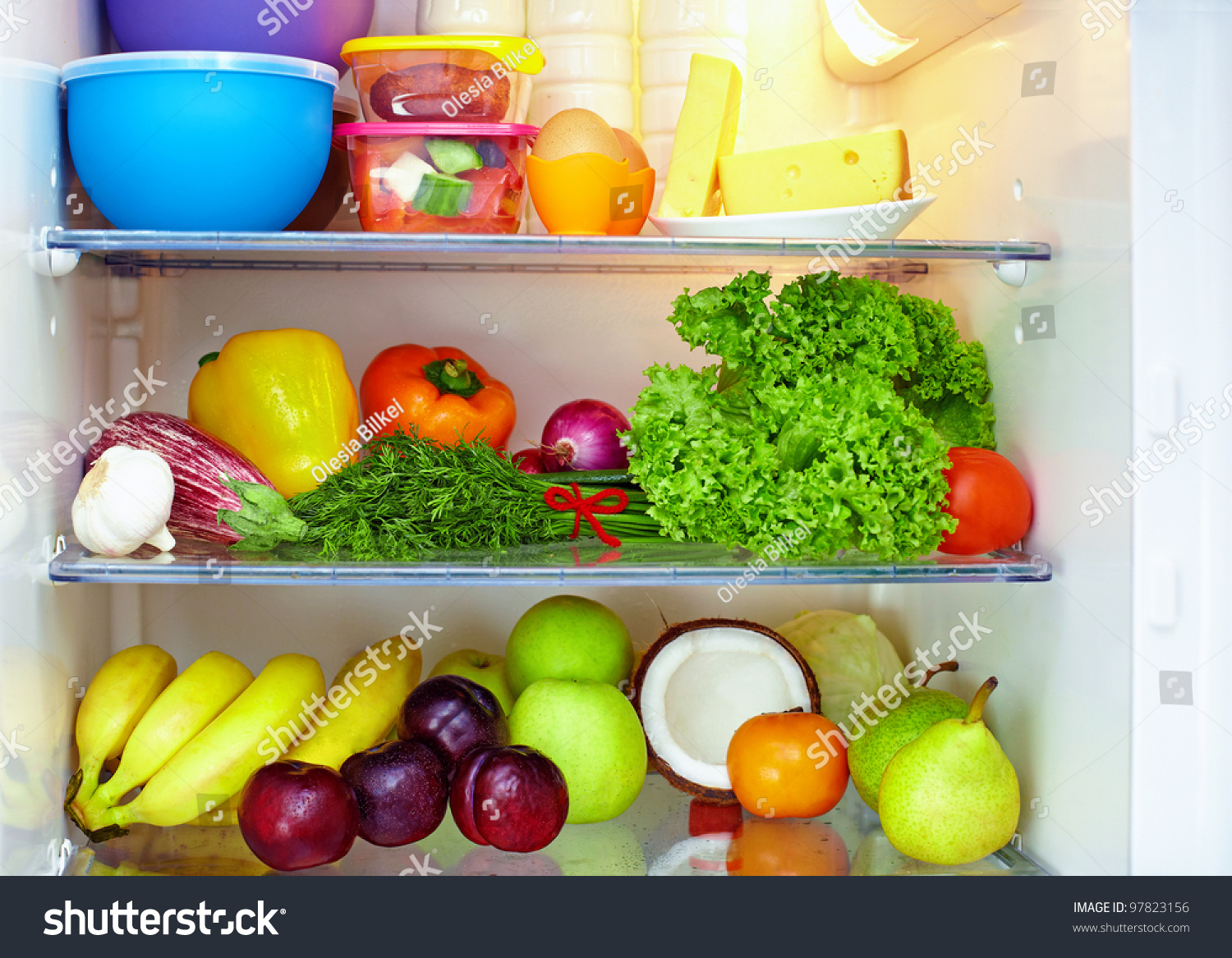 Refrigerator Full Of Healthy Food Fruits And Vegetables