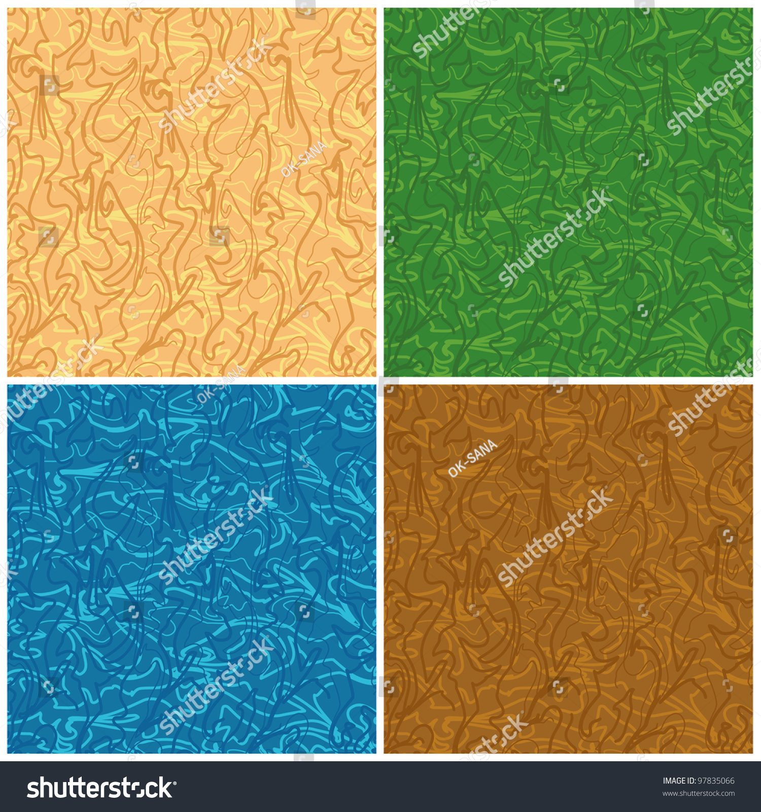 Set Abstract Seamless Backgrounds Of The Curves Stock