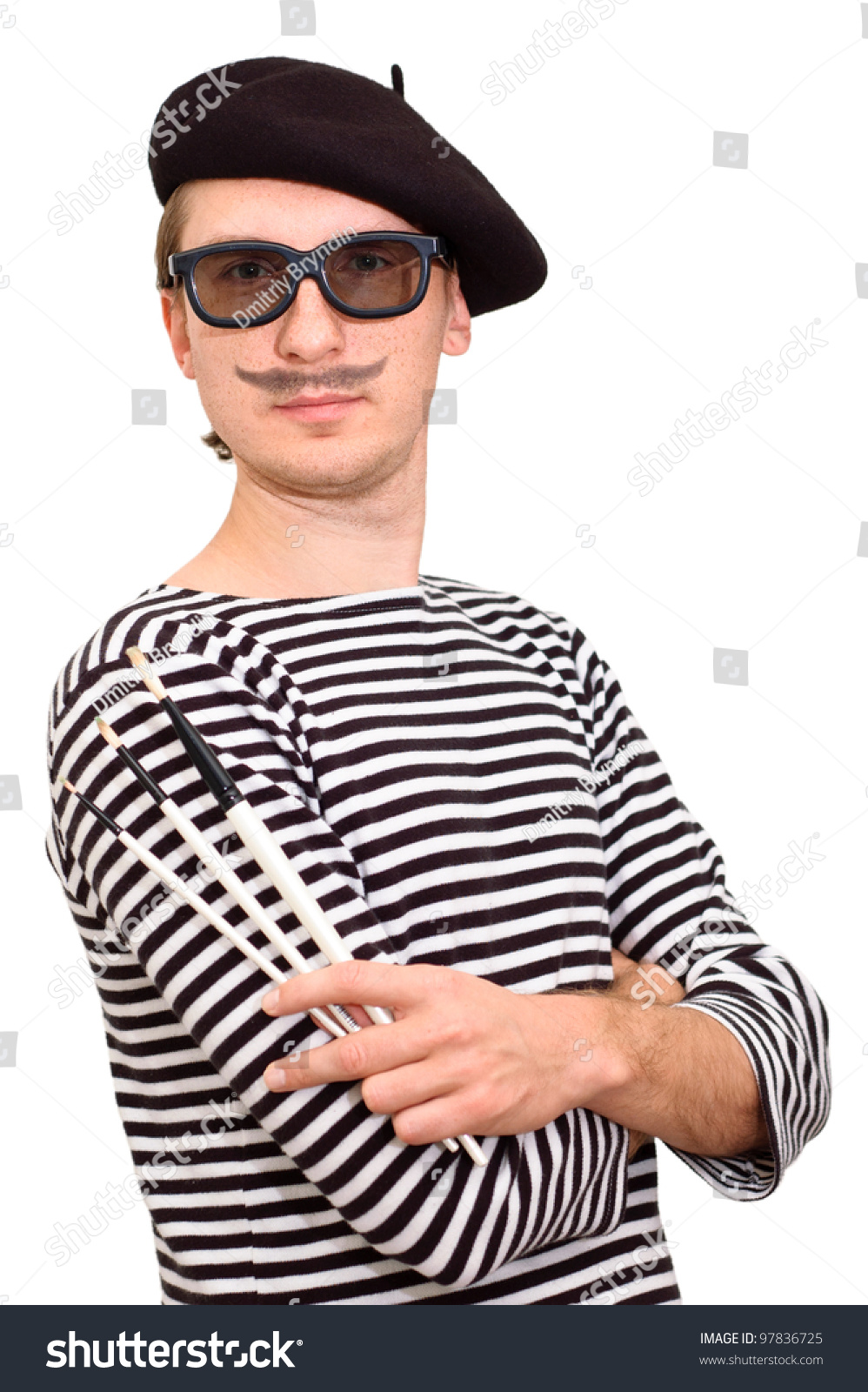 9994d6be52d French guy artist beret three brushes stock photo edit now jpg 998x1600 Berets  french artist hat