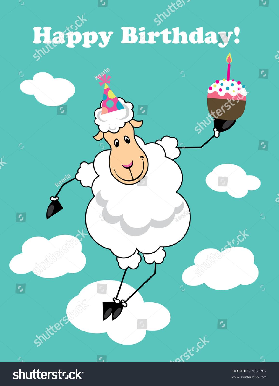 Cute Happy Birthday Card Fun Sheep Vector 97852202 – Sheep Birthday Cards