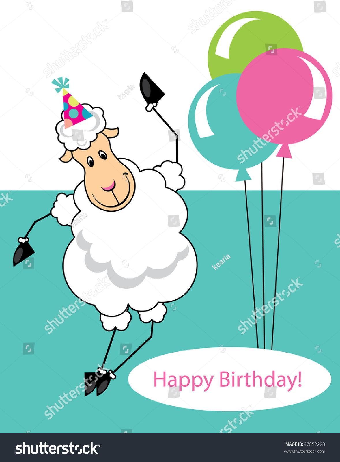 Cute Happy Birthday Card Fun Sheep Vector 97852223 – Sheep Birthday Cards