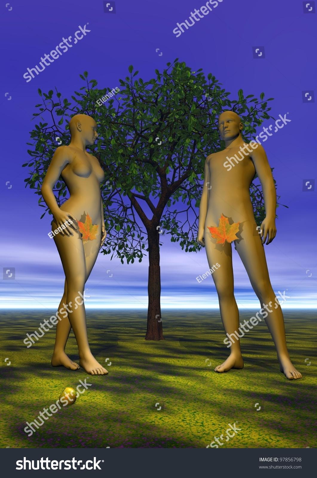 adam eve leaf front tree stock illustration 97856798