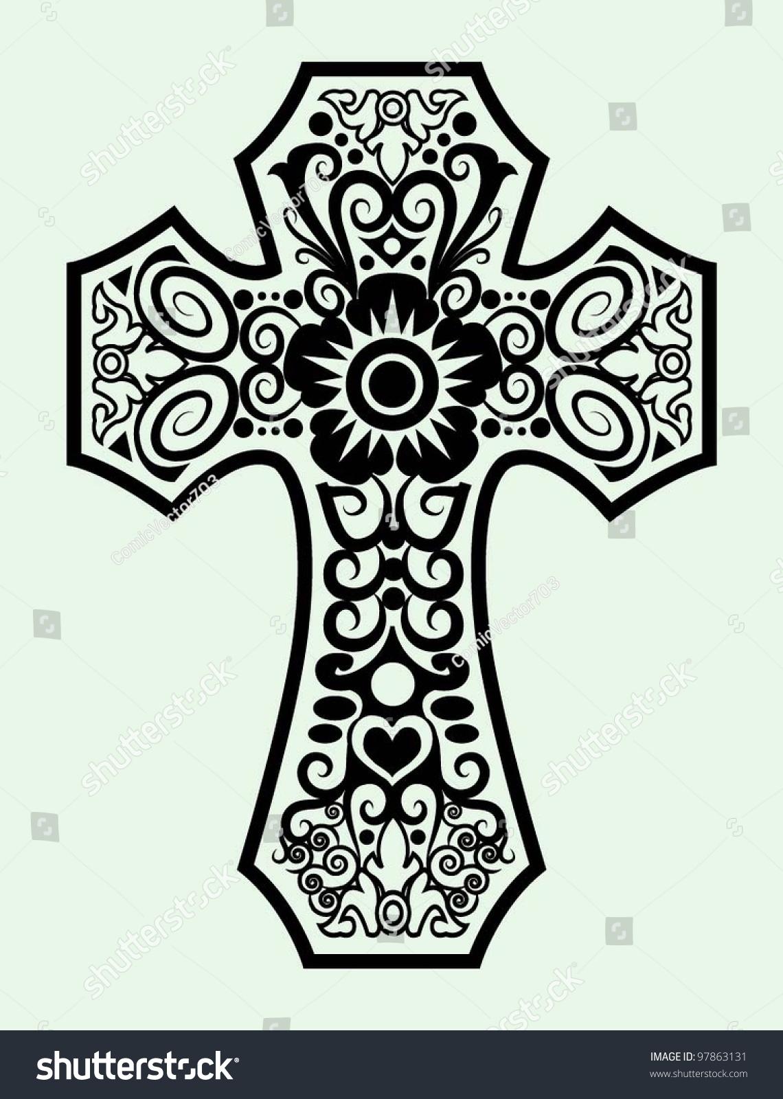 decorative cross ornament ink black and white drawing symbol - Decorative Cross