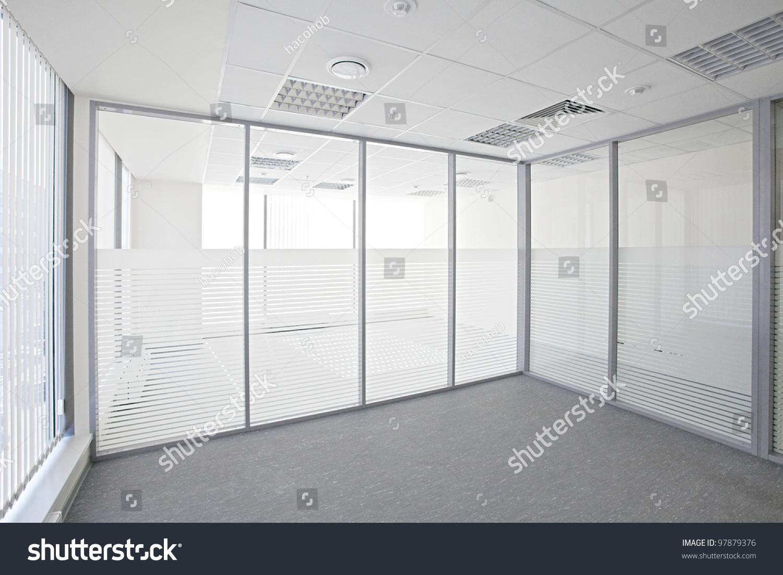 Empty Office Room Glass Walls Doors Stock Photo 97879376 ...