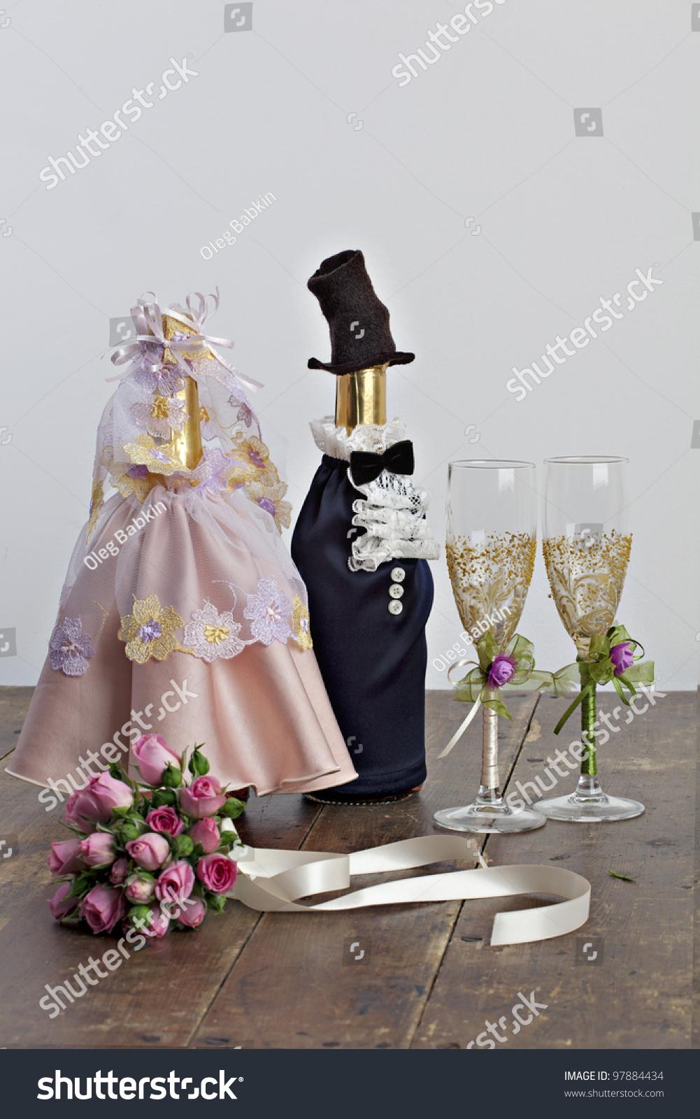 Champagne Bottle Decoration Wedding Decoration Bottle Champagne Glasses Bridal Stock Photo