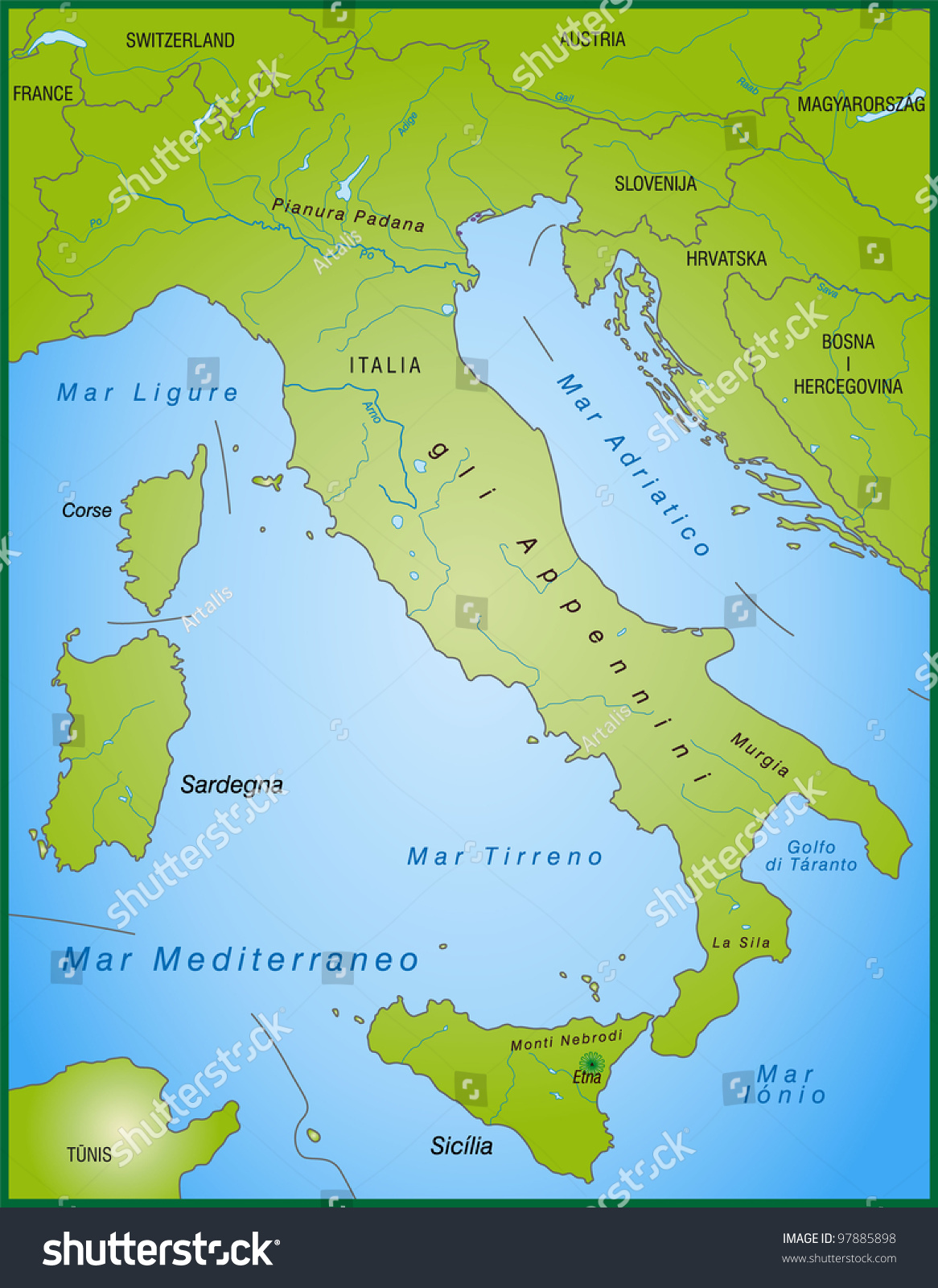 map of italy with neighboring countries
