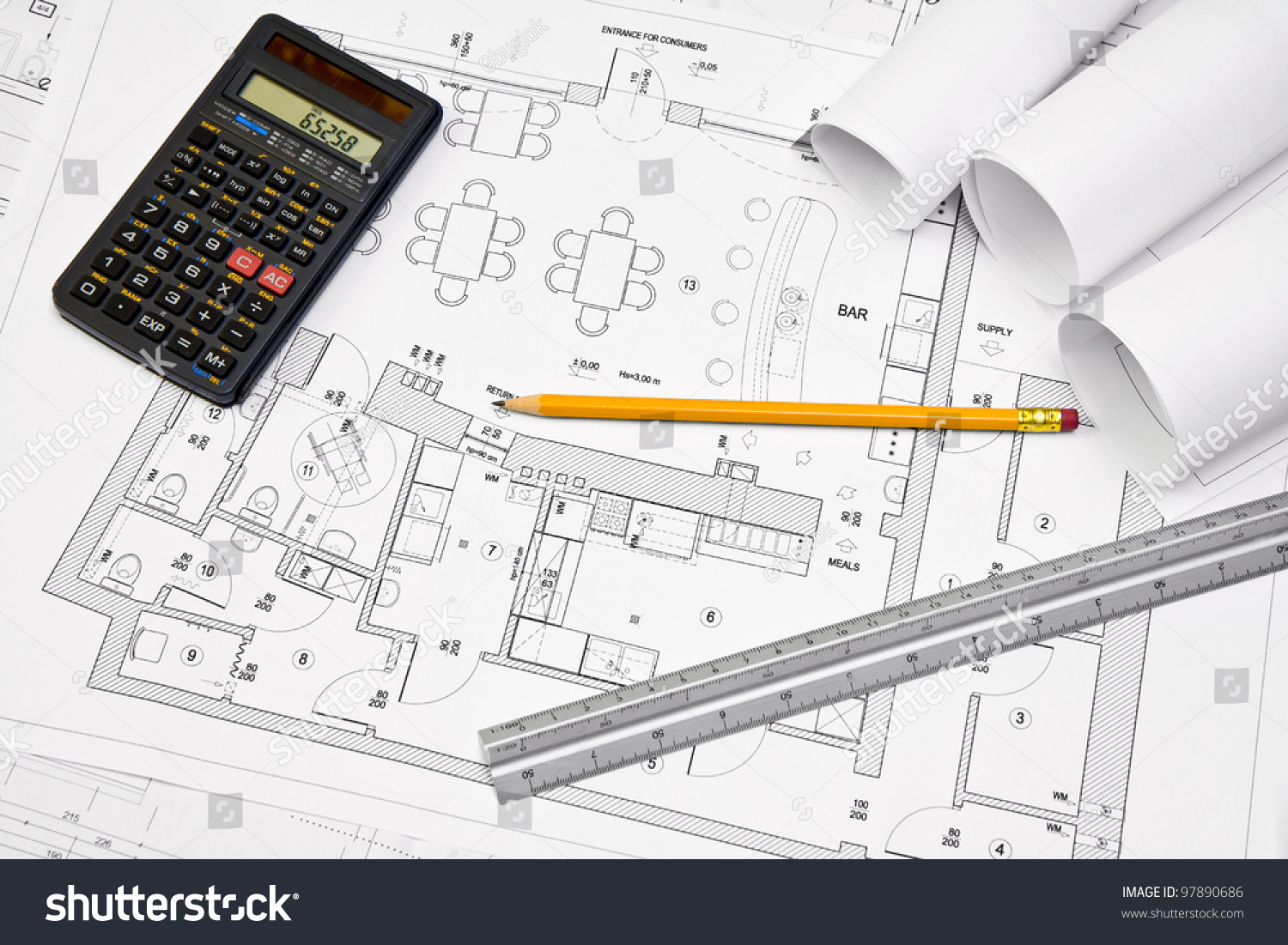 Calculator scale ruler pencil on architectural stock photo for Blueprint estimator