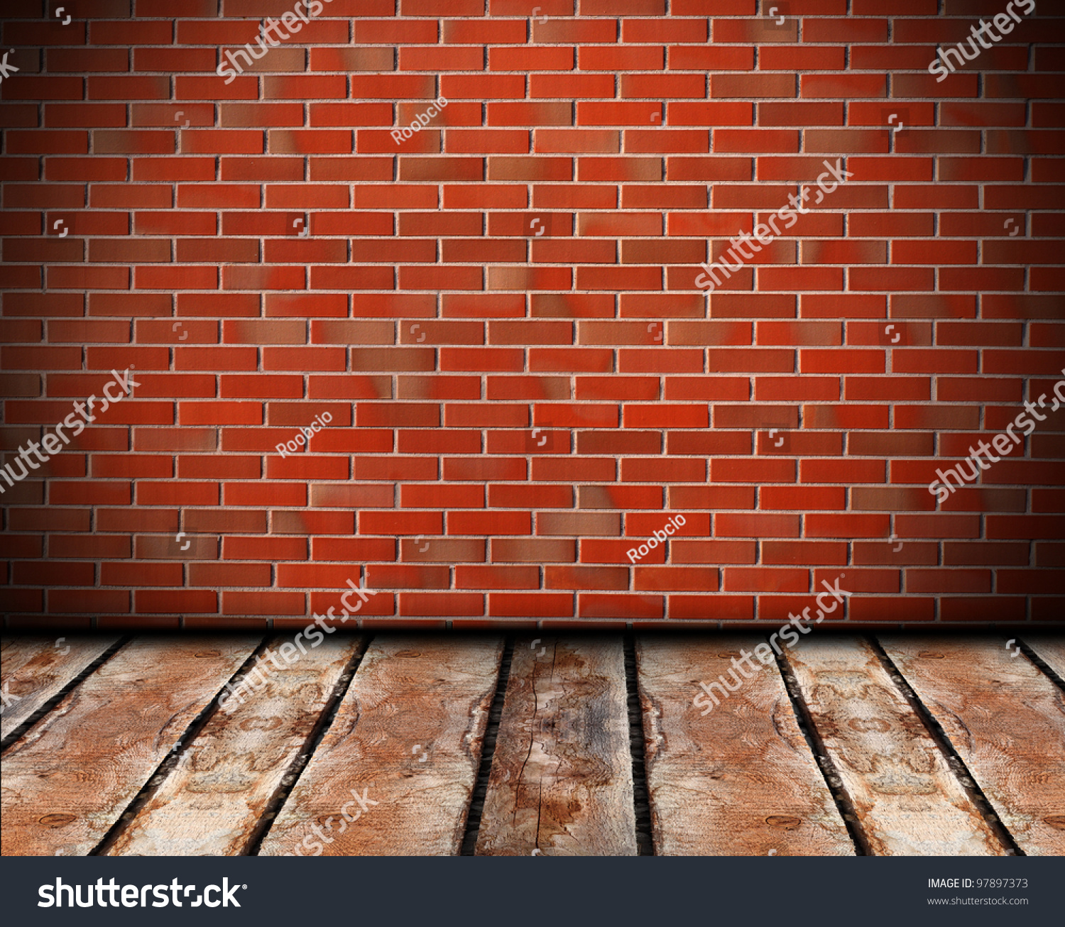 Problems With Brick Floors : Brick walls and wooden floors stock photo
