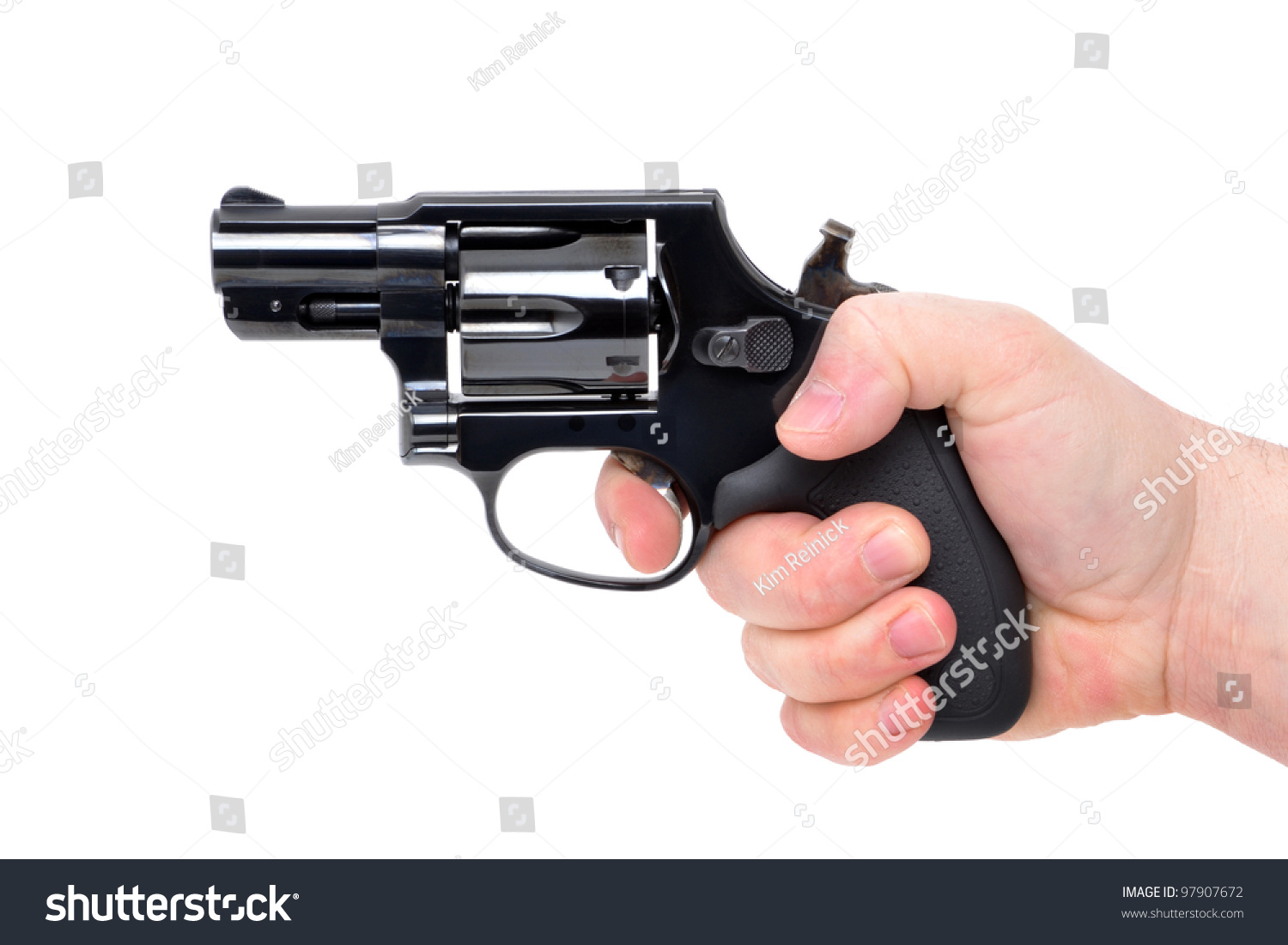 Hand Holding A Revolver Pistol Stock Photo 97907672 ...