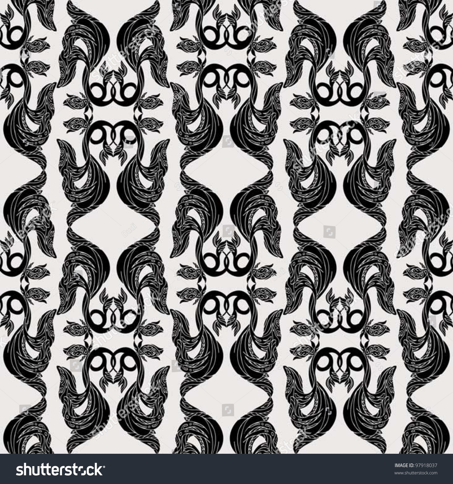 Abstract Damask Background Fashion Seamless Pattern Stock Vector ...