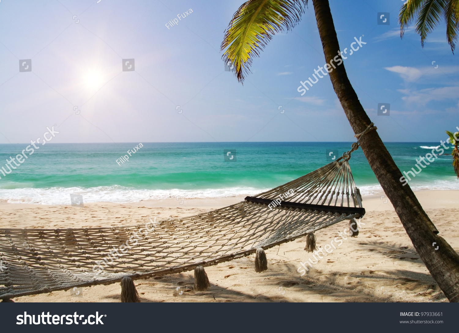 Romantic Pictures Of Tropical Beaches: Romantic Cozy Hammock Shadow Palm On Stock Photo 97933661