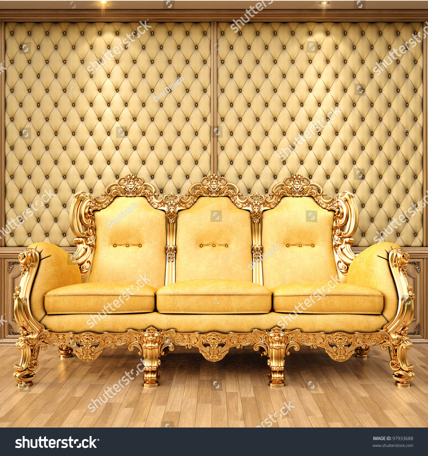 Golden Sofa In The Luxurious Interior.