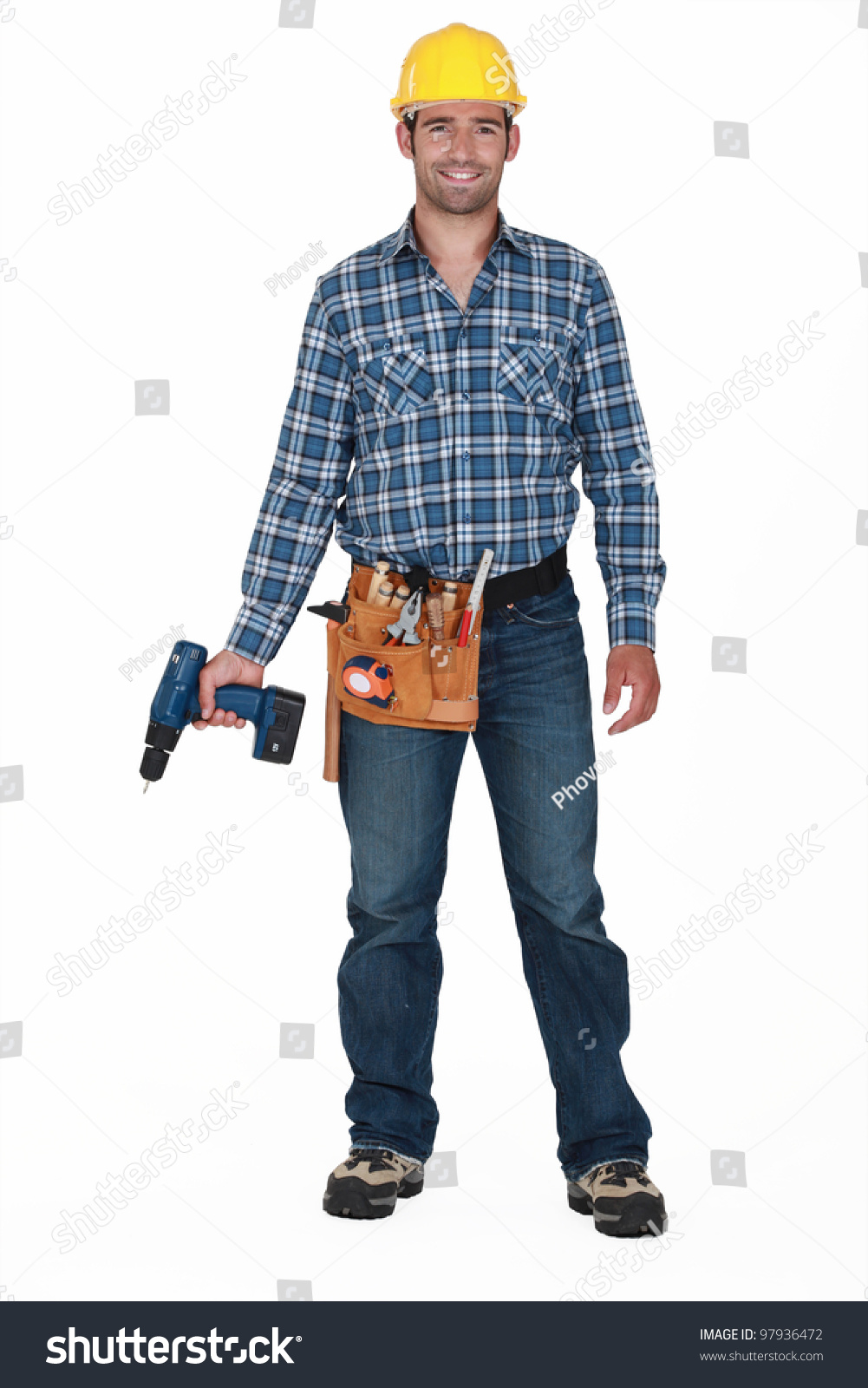 Construction Worker Holding Drill Stock Photo 97936472 ...  Construction Wo...