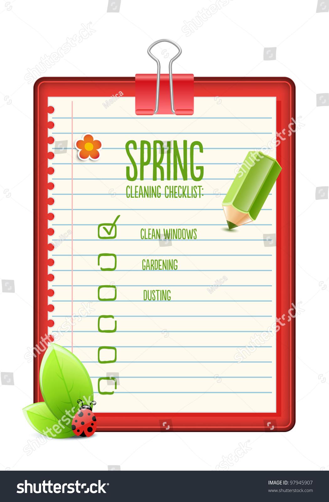 Spring Cleaning Checklist Illustration Vector 97945907 – Sample Spring Cleaning Checklist